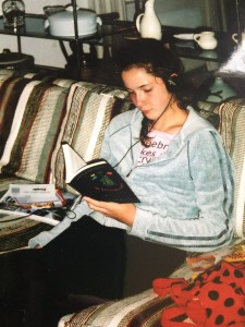 "Me, circa 2003: over-ear headphones, knockoff Juicy Couture sweatshirt, copy of ""The Westing Game,"" homemade ""Algebra Makes Me Cry"" t-shirt"