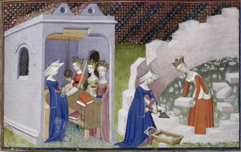 This somewhat non-sequitur of an image relates writing to building, because Christine de Pizan GETS IT